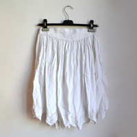 Vintage White Midi Skirt Asymmetrical Boho Gypsy A line Medium M Large L
