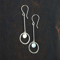 Long dangle earrings. Long silver earrings. Sterling silver drop earrings with gold filled disc. Modern, unique, handmade jewelry