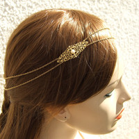 Gold Hairchain Bohemian Headband Bridal Pearl Hair Jewelry Bridal Headband Boho Hairpiece Bridal Headpiece