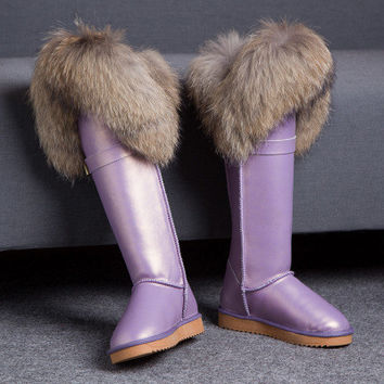 2017 Fox Fur Knee High Winter Boots ,Woman Genuine Leather Long Snowboots Pink Purple Black Flat Warm Shoes