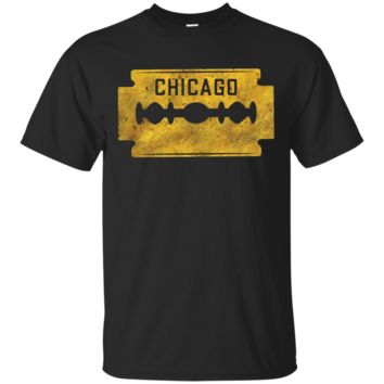 Chicago Illinois Razor - Gold Foil Effect Retro T-Shirt Hoodie