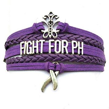 DOLON Purple Fight For PH Pulmonary Hypertension Bracelet Awareness Ribbon Charm