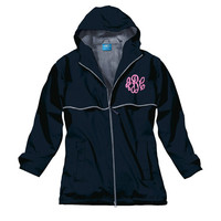 Monogrammed Windbreaker Zip Up Rain Coat Jacket