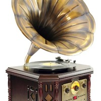 Pyle PVNP48BCD Vintage Bluetooth Turntable System, Gramophone/Phonograph Style