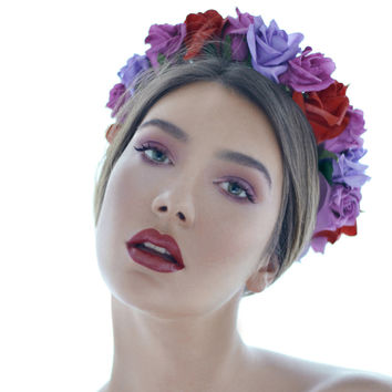 RED AND PURPLE FLORAL CROWN by La Martina Monroe