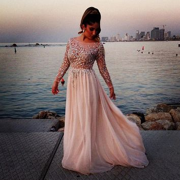 Robe de soiree Sexy Beaded Prom Dresses 2017 Boat Neck Long Sleeves A-Line Sequined Chiffon Party Dresses Evening Dress