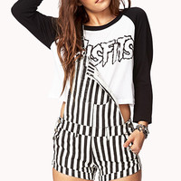 City-Chic Striped Shortalls