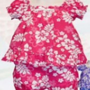 KY's Girls Pink Dress with Hibiscus Set