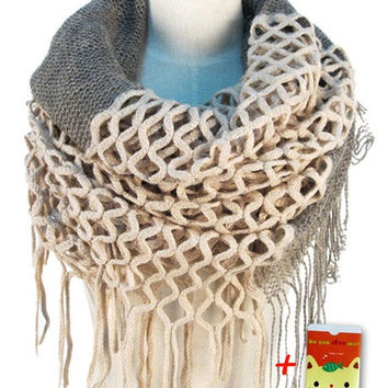 Women Winter Warm Knit Loop Scarf Tassels Soft Shawl Two styles Infinity and straight [8389950209]