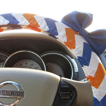 Steering Wheel Cover Bow - The Original Orange, Blue and White Chevron Steering Wheel Cover with Blue Bow