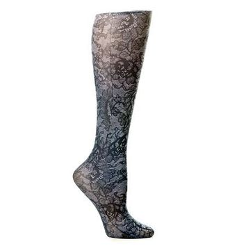 Lightweight Patterned Compression Socks in Midnight Lace