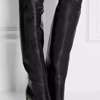 Autumn Winter Newest Black Leather Boots Woman round toe over the knee boots thick heels riding boots motorcycle leather boots