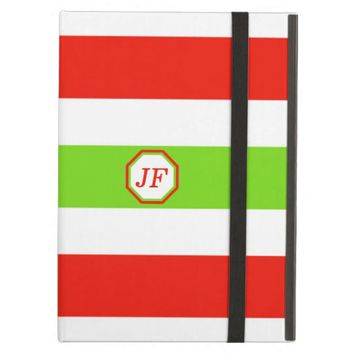 Stripes White Red Green iPad Air Covers