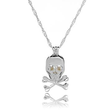 Fashion Retro Luminous Bead Hollow Skull Pendant Necklace for Women Personality Jewelry Gift