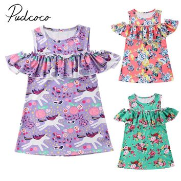 2018 Brand New Toddler Infant Child Baby Kid Girls Unicorn Dress Off Shoulder Summer Party Sundress Ruffled Outfit Dresses 1-6T
