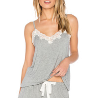 Flora Nikrooz Snuggle Knit Lace Cami in Heather Grey