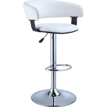 White Faux Leather Seat & Chrome Adjustable Height Bar Counter Stool
