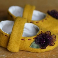Yellow Wool and Purple Flowers Mary Jane Booties by TillyWhistle