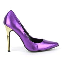Fahrenheit Nicholas-05 Metallic Single Sole Pumps in Purple @ ippolitan.com