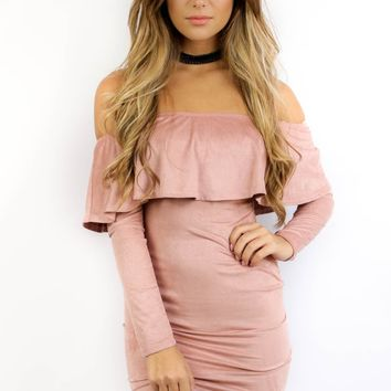 Walk On By Mauve Ruffle Suede Dress