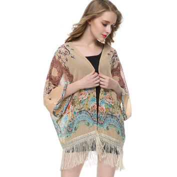 Women floral tassel chiffon loose Kimono outwear loose vintage cape coat  Femininas European casual cardigan brand tops CT942