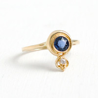 Antique Art Nouveau 14K Yellow Gold Diamond and Sapphire Ring- Size 4 1/4 Early 1900s Fine Jewelry