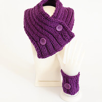 The Chunky Cowl Neckwarmer Scarf and one cuff bracelet, purple, buttons, Cowl choker, hand knit, purplescarf, winter scarf, Knitted, Womens