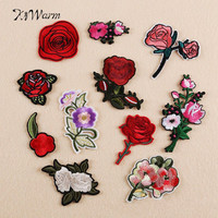 Embroidered Rose Flower Applique Patches 11Pcs Sew Iron Patch Badge Bag Clothes Applique DIY Apparel Sewing Craft Needlework