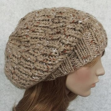 FREE SHIPPING Hand Knitted Women Hat in Beige Tweed Color,Men Hat,Handmade Slouchy Hat,Wool Winter Beret,Warm Bulky Hat,Knit Women Accessory