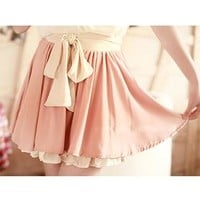 Mixing Color Shirred Bubble Chiffon Skirt