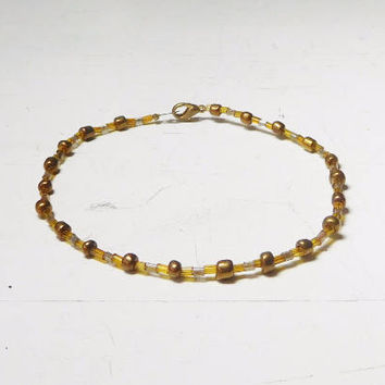 "Brass Anklet Yellow Clear Beads Plus Size Bracelet 9 Inches & 9 1/2"" Hippie Beach Style Bohemian Indie Festival Jewelry Beaded Bugle"