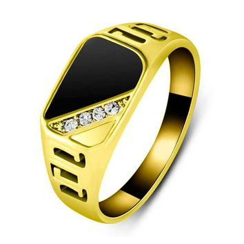 SHUANGR Fashion Classic Rhinestone Engagement Ring For Men Black Enamel Wedding Band Rings Male Finger Jewelry 2 Color Size 7-12
