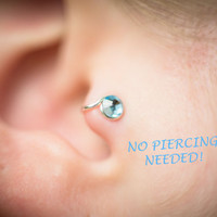 Right-Ear Raindrop Crystal Tragus Cuff Blue Austrian Swarovski Crystal Silver Ear Cuff wire earring alternative