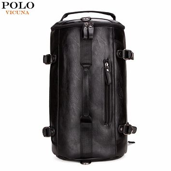 VICUNA POLO Personality Large Size Round Leather Mens Travel Bag Fashion Rolling Travel Backpack For Man Famous Brand Duffel Bag
