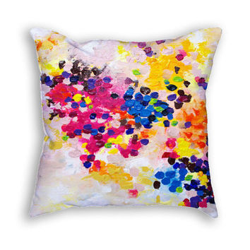 Colorful pillow cases Pastel pillow cover Cushion case Abstract art pillow cover Dots painting Decorative pillows Fine art cushion cover