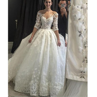 Vintage Lace Half Sleeve Wedding Dress 2017 With Brading Pearls Scoop Sheer Neck Flowers Ball Gown Vestido De Noiva Plus size