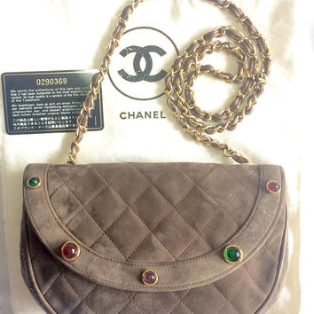 Vintage CHANEL beige brown, cocoa brown suede leather chain shoulder bag with green, pink, red, and purple gripoix stones. Rare masterpiece.