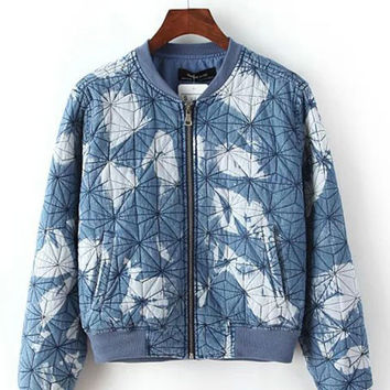 Blue Stand Collar Denim Tie-Dyed Padded Coat