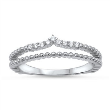 925 Sterling Silver CZ Double Rows Tiara Ring 4MM