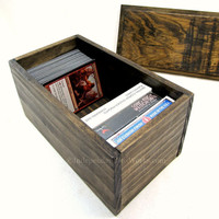 Small Storage Box with Drop In Lid - Little Rustic Gift Box - Trading Card Box, Game Card Box, Playing Card Storage, Game Room Decor