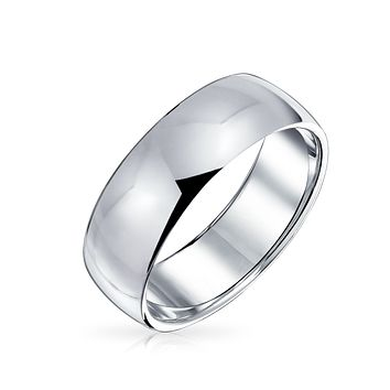 Simple Shiny Wide Dome 925 Sterling Silver Wedding Band Ring 6mm
