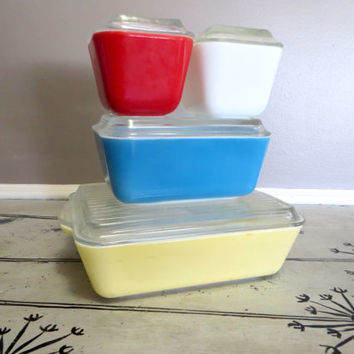 Vintage Pyrex Primary Refrigerator Set Storage Set Pyrex Dish Rectangular  Pyrex Red White Blue Yellow Storage