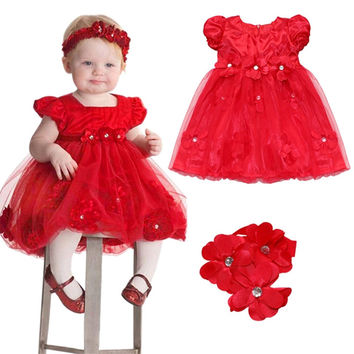 Newest Infant Baby Toddler Princess Flower Party Wedding Dress Christening Easter Petals Tulle Gown Dress with Headband Headwear