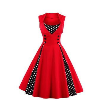 New 2017 Summer Women Dress Retro 1950s 60s Dress Polka Dots Pinup Rockabilly Sexy Party Dresses Vintage Tunic Vestidos Mujer