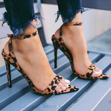 Sexy Leopard Super High thin Heels Sandal
