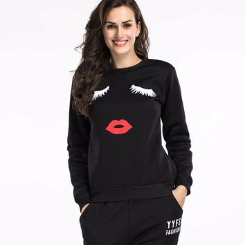 Autumn Winter Sweatshirt  Clubwear Outfit Long Sleeves Top For Women Female Black kawaii Funny Printed felpe donna Pullovers