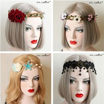 Cool Fashion Party Prom Queen Hair Accessories Leaf Flower Crown Headband For Women Night Bar Christmas Halloween Hairband 4AT_93_12