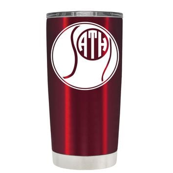 Monogrammed Tennis Ball on Translucent Red 20 oz Tumbler Cup