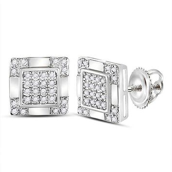 10kt White Gold Mens Round Diamond Square Cluster Stud Earrings 1-6 Cttw