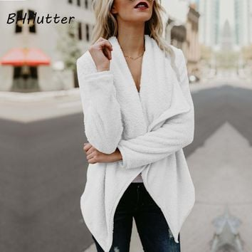 Wide Lapel Fuzzy Warm Winter Sweater